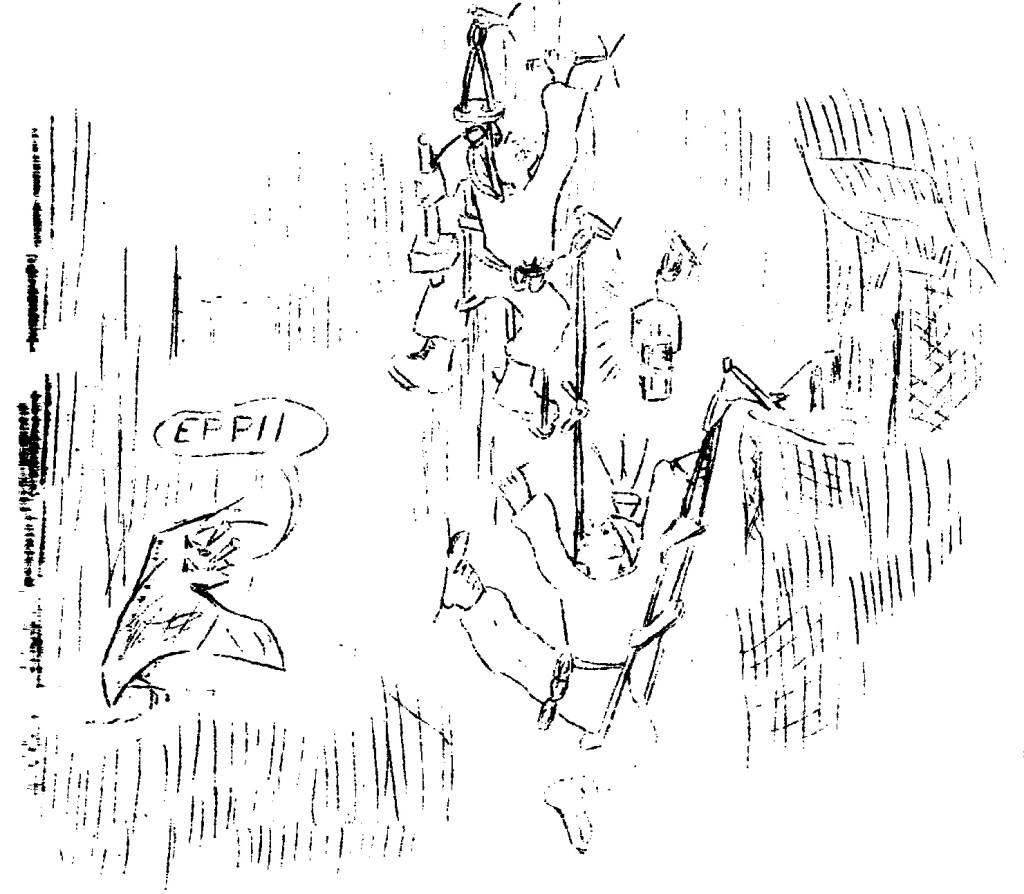 Risalita nel Ramo dei Salti, anno 1964 (disegno di Leonardo Busellato)