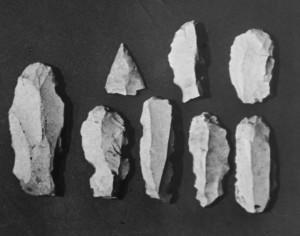 Reperti palolitici trovati nella cava adiacente l'ingresso (foto archivio GGT)