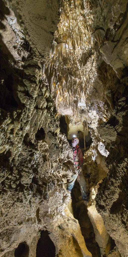 Abbondante concrezionamento nella parte superiore della fessura iniziale del Ramo Principale di Sinistra (foto Sandro Sedran S-Team)