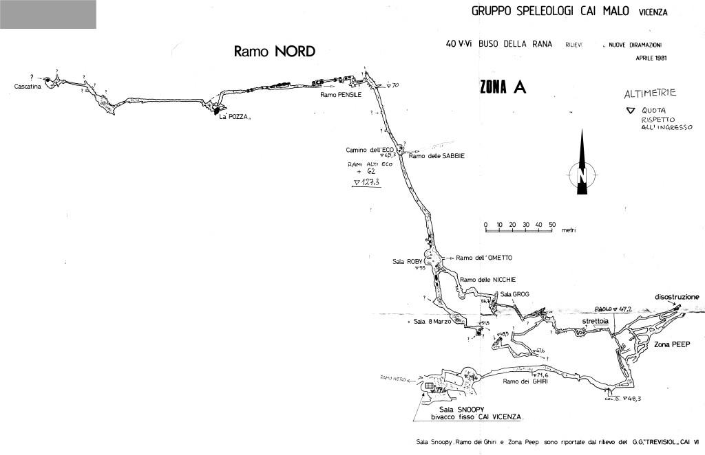 Rilievo del Ramo Nord con altimetrie nel 1981