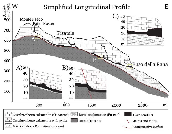 Profilo schematico del sistema carsico Buso della Rana-Pisatela (di Tisato, Sauro, Bernasconi, Bruijn, De Waele)