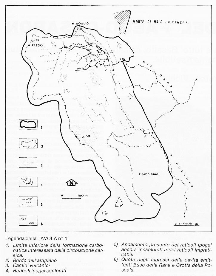 Schema idrogeologico dell'Altopiano del Faedo-Casaròn, Enrico Gleria 1982